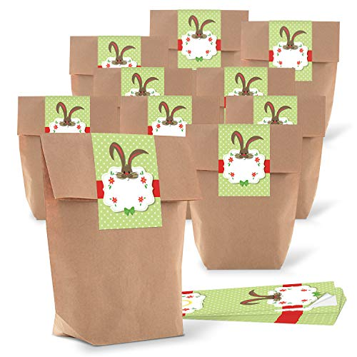 Logbuch-Verlag 10 kleine braune Osterbeutel Verpackung Papiertüte 16,5 x 26 x 6,6 cm + 10 Osterhase Osteretiketten 7,2 x 21 cm Frohe Ostern Geschenk-Verpackung Aufkleber grün weiß rot