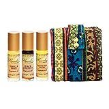 Kuumba Made Fragrance Oil Perfume Oil Roll On — Vanilla Bean, Black Coconut, and Egyptian Musk - Essential Oils Set with Perfume Glass Spray Bottle Purse Bag — 3 x 0.125 fl. oz. (3.7ml) Essential Oil