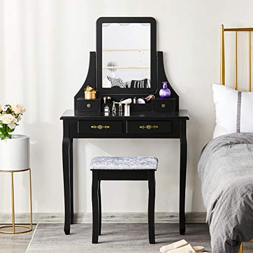 Best Price Tiptiper Dressing Table, Makeup Vanity Table Set with Cushioned Stool 5 Drawers and Tri-F...