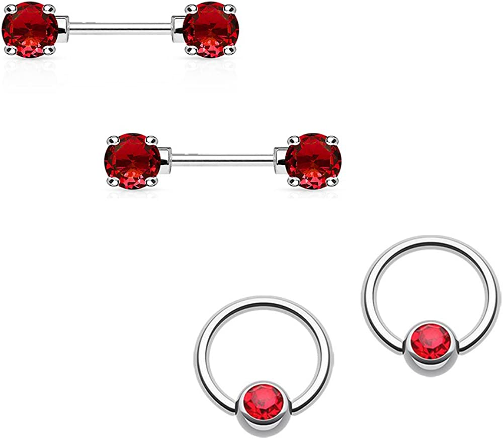 BodyJewelryOnline Nipple Ring 14G Barbell/Captive Combo Surgical Steel with Red Round CZ Gems