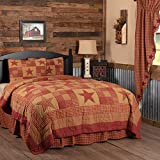 VHC Brands Ninepatch Star 3 Piece King Country Patchwork Design, Quilt Set, Burgundy Red