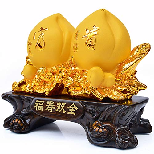 NYKK Wealth Prosperity Statue Peach Ornaments Send Elders Birthday Gifts Home Living Room Decorations Decor Feng Shui