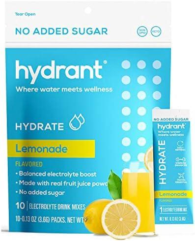 Hydrant Hydrate Lemonade No Added Sugar 10 Stick Packs Electrolyte Powder Rapid Hydration Mix product image