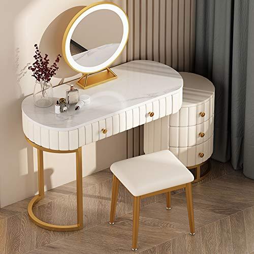 Soul Case Princess Girls Vanity Table Set 3 farbige LED-Beleuchtungsmodi Touchscreen-Dimmspiegel, Schminktisch mit 5 Schiebeschubladen und Hocker, moderner Schlafzimmer-Make-up-Tisch für Mädchen