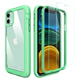 PeakDrop Compatible with iPhone 11 Case, Clear Full Body Heavy Duty Protective Case Full Body Transparent Cover Designed for iPhone 11 (2X Glass Screen Protector Included) (6.1 inch, 2019) - Mint