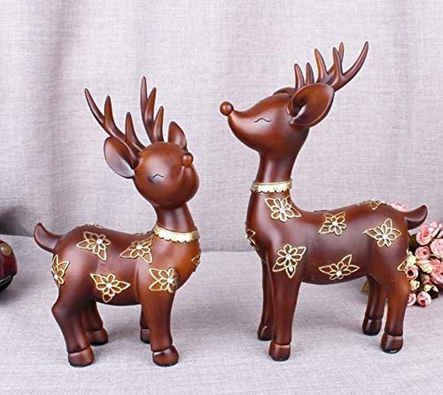 重要性泥誕生日Chennong 樹脂工芸ブループラムカップル鹿装飾家のリビングルームのキャビネット装飾クリエイティブギフト (Color : Wood color)