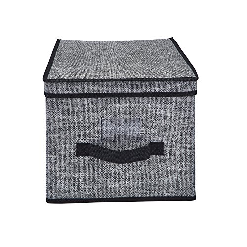 Simplify Breathable Woven Storage Box with Flip Top Lid, Keeps Out Dust and Odors, Good for Off Season Clothing, Linens, Toys & Accessories. Store in Closets or Under The Bed, Large Black