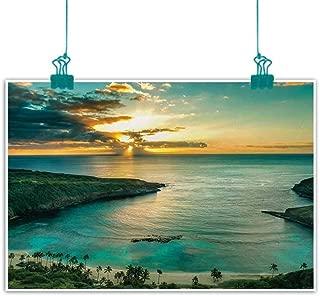 Unpremoon Hawaiian,Picture Art Sunrise Over Hanauma Bay Oahu Hawaii Sunbeams Through Clouds Shoreline W 24