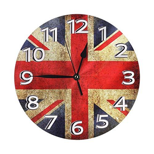GOSMAO Reloj de Pared Redondo, Tapiz, Bandera británica Retro, Reloj de decoración del hogar para Sala de Estar, Dormitorio, Oficina