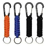 EOTW 4 Pack Corde Tressée avec Porte-clés et Mousqueton, Porte clefs très pratique, Idéal pour la rando et le bushcraft (Noir + Bleu + Orange)