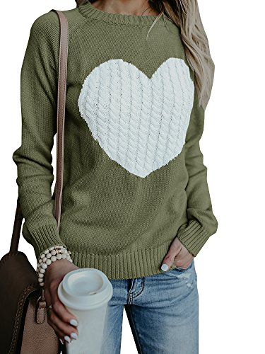 Valphsio Women's Casual Loose Long Sleeve Crewneck Elbow Patch Sweatshirt Tunic Tops Army Green