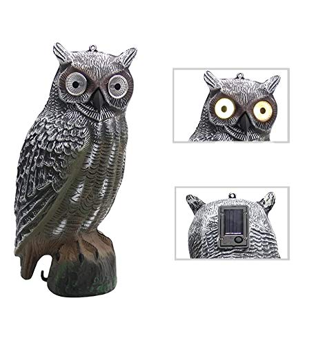 YOFIT  Solar Bird Scarecrow Fake Horned Owl Decoy, Bird Repellent Garden Protectors, Natural Enemy Pest Deterrent Scarecrow