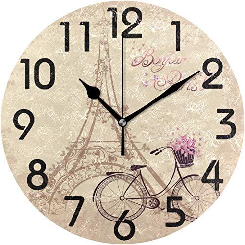 gdingxiantengsubaihuoshang Schicker romantischer Eiffelturm und Fahrrad Bonjour Paris runde Wanduhr dekorativ, 9,5-Zoll-batteriebetriebene Quarz-analoge ruhige Tischuhr für Haus, Büro, Schule