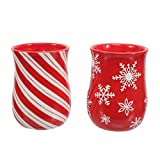 DEI Embossed Cozy Hand Mugs Set of Two Red and White Candy Cane and Snowflake Holiday Christmas Theme