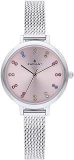 Reloj analógico para Mujer de Radiant. Colección Selene. Reloj Plateado con Esfera Rosa con pedrería Multicolor. 3ATM. 32m...