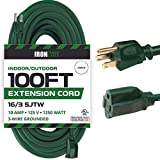 100 Foot Outdoor Extension Cord - 16/3 SJTW Durable Green Extension Cable with 3 Prong Grounded Plug for Safety - Great for Powering Outdoor Christmas Decorations
