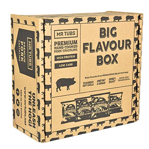 Mr Tubs Premium Hand Double Cooked Pork Crackling - Big Flavour Box - 12 Packs, 4 Flavours