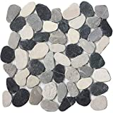 FuStone Decorative Tiles Interlocking Tumbled Pebble Tiles (10-Sheets) Kitchen Floor Bathroom Patio Stone Tile for Indoor and Outdoor Use Natural River Rock Stones SA-CP004-10