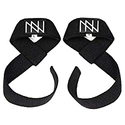 Nordwerk Premium Pulling Aids, padded / 60cm Lifting Straps - for strength training, bodybuilding, crossfit and fitness - for women and men (black)