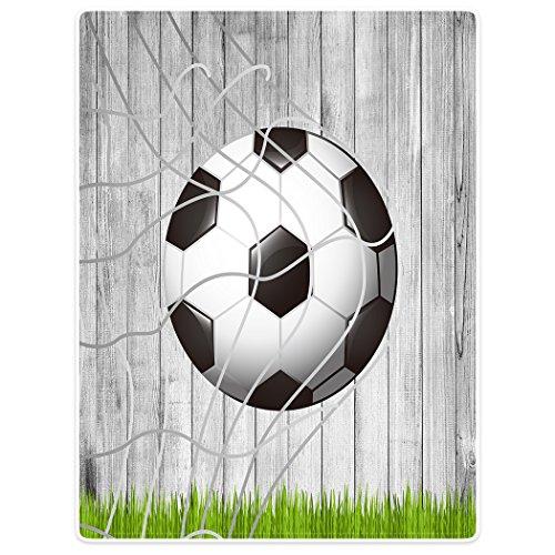 YISUMEI Decke 125x150 cm Kuscheldecken Sanft Flanell Weich Fleecedecke Bettüberwurf Fußball Holz Gras Fußballnetz
