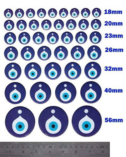 42X Nazar Boncuk Boncugu 3D Sticker Aufkleber Reliefsticker Blaues Auge, Evil Eye, Türkischer Glücksbringer, Gastgeschenke Dekoration Amulett Anhänger Wanddeko Babyparty Mevlüt Sünnet bebek sekeri