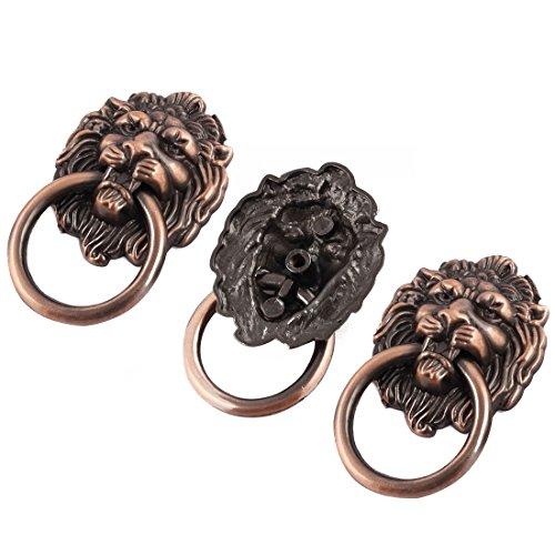 DyniLao Metall hem lejonhuvud design vintage stil skåp draghandtag 40 mm bredd 3 st