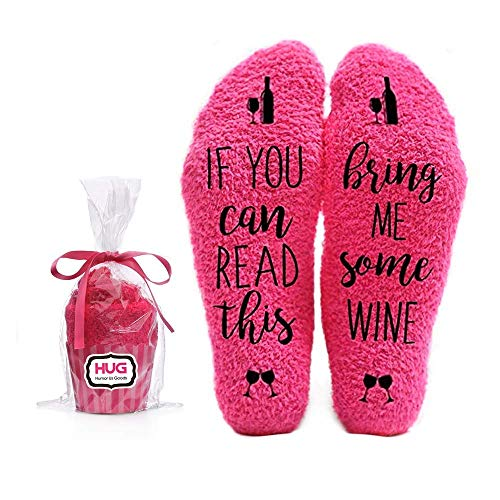 Bring Me Wine Fuzzy Pink Socks - Novelty Cupcake Packaging for Her - Birthday Idea for Women, Mom, Wife, Sister, Friend, Aunt or Grandma - 1 Pair Christmas Stocking Stuffers…