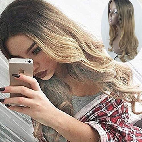 Peluca larga peluca rizada peluca ondulada, peluca sintética resistente al calor, cabello natural, para trabajos, citas, conciertos, juego de rol, entretenimiento, fiestas temáticas, disparos de video