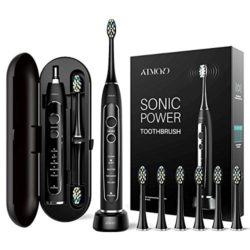 ATMOKO Sonic Power Ultra Whitening Toothbrush, 6 Indicator Dupont Brush Heads & Travel Case - 5 Modes & 40,000 VPM Motor & Wireless Charging - Electric Toothbrush for Adults - Dentists recommend