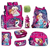 Familando Frozen Mädchen Schulranzen-Set 8-TLG. Disney Die Eiskönigin ELSA und Anna mit Sporttasche und Regenschutz pink für Mädchen