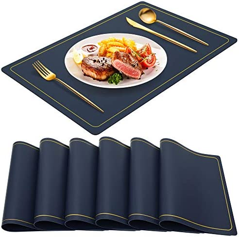 Blue Placemats for Dining Table Set of 6 Waterproof Wipeable PU Leather Place Mats Indoor Washable product image