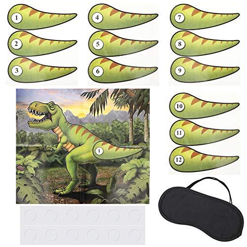 Gitua Dinosaurier Party Spiel, Pin the Tail beim Dinosaurier Poster mit 12 Stück Schwänze für Kinder Geburtstag Party Zubehör