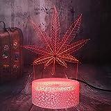 Dalovy Festival Beautiful Weed Cannabis Leaf 3D Led Night Light Colorful Changing Atmósfera Iluminación Lava Baby Party Dormitorio Decoración Sleep Desk Lámpara de Mesa