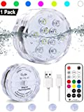 Qoolife Rechargeable Underwater Led Lights- 3.3' USB Magnetic Waterproof Shower Led Lights RF Remote Controlled RGBW Submersible led Lights for Bathtub Hot Tub Pond Spa Party Foundation Party(1 Pack)