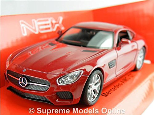 Welly Mercedes AMG GT Modelo Coche Maroon 1: 36-1: 38 TAMAÑO Deportes 2 Puertas