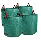 PHYEX Professional 4-Pack 132 Gallon Gardening Bags for Lawn Yard, Extra Large Reusable Leaf, Waste and Trash Container