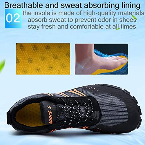 Unitysow Hombre Zapatilla Minimalista de Barefoot Trail Running Calzado de Correr en Montaña Sneakers Versátil Aire Libre Deportes Gym Asfalto Playa Zapatos de Agua,Negro Naranja,44