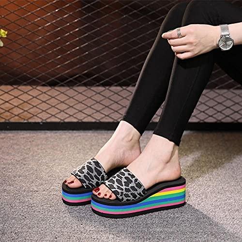 zapatillas de casa para mujer primavera,Zapatillas de arco iris, ropa de verano de la moda zapatillas frescas de moda, pendientes con cremallera de ocio grueso, caminata de playa antideslizante para