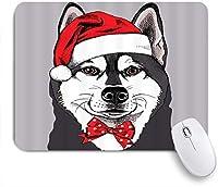 NINEHASA 可愛いマウスパッド 犬の恋人クリスマスかわいいペットハスキースケッチ蝶ネクタイおかしい ノンスリップゴムバッキングコンピューターマウスパッドノートブックマウスマット