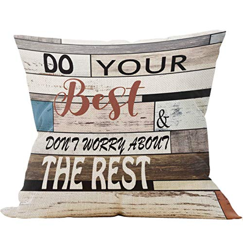 Mancheng-zi Do Your Best & Don't Worry About The Rest Throw Pillow Case, Office Inspirational Quotes Pillow, 18 x 18 Inch Vintage Wood Decorative Cotton Linen Cushion Cover for Sofa Couch Office