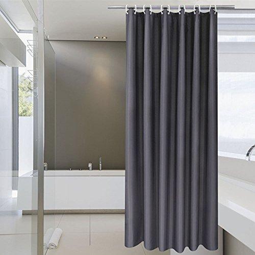 AooHome Massiver dekorativer Duschvorhang, 152,4 cm Breite x 182,9 cm Höhe, wasserdichter Polyester-Duschvorhang, Duschvorhang, beschwerter Saum, dunkelgrau