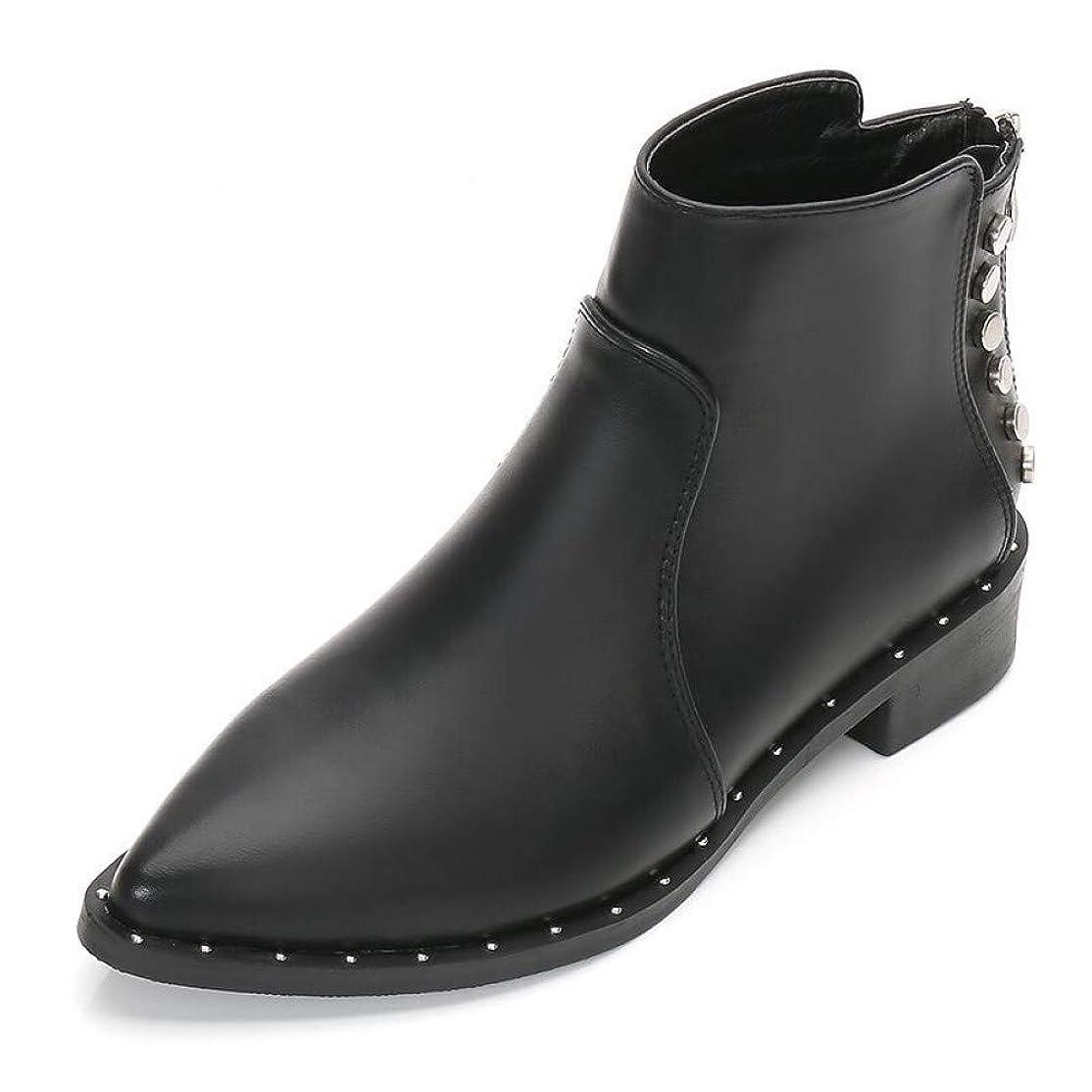 実装する公喉頭WZMNSGGX 冬の黒のアンクルブーツは、マーチンブーツリベットスリーブショートプラスベルベット暖かい大型ブーツを指摘しました