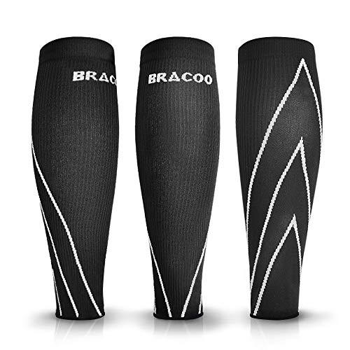 Bracoo LE70 Waden Kompressionsstulpen – Beinlinge – Wadenbandage – Wadenkompression | Laufstulpen ideal beim Sport wie Laufen und Radfahren | M | weiß