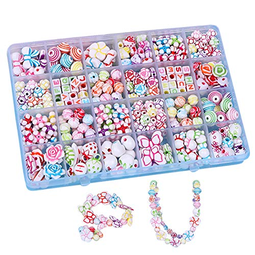 BJ-SHOP Cuentas Abalorios,DIY Beads Granos Coloridos de la Pulsera de plastico Cultivar Color Sensible para la fabricacion de Collar de la joyeria y para el Regalo de Las Ninas de los ninos