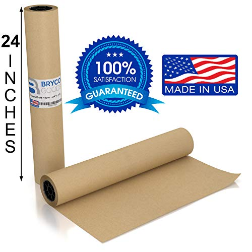 Brown Kraft Arts and Crafts Paper Roll - 24 inches by 175 Feet (2100 Inch) - Ideal for Paints, Wall Art, Easel Paper, Fadeless Bulletin Board Paper, Gift Wrapping Paper and Kids Crafts - Made in USA