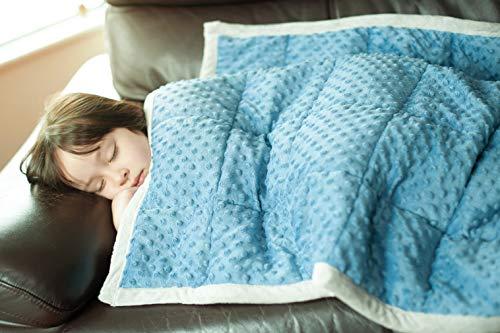 Daverose Beschwerte Decke für Kinder 4.6 kg 97 * 158cm Schwere Decke Gewichtsdecke Kinder Blau&Hellgrau ZLT-BG97-2