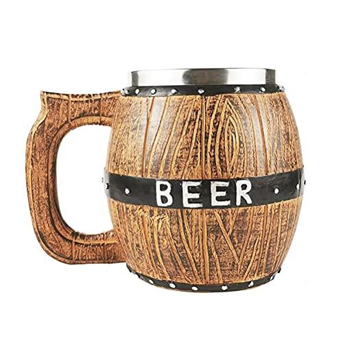 Boccale da birra in acciaio inossidabile a forma di secchio con manico Bicchieri da birra in legno per la casa Bar Ristorante, Boccale da birra fatto a mano Tazza in acciaio inossidabile in legno