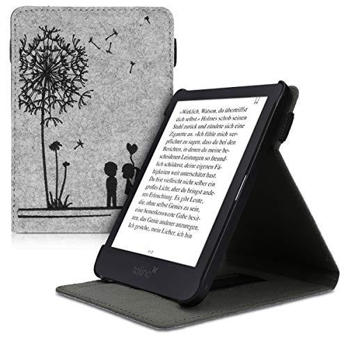 kwmobile Tolino Shine 3 Hülle - Schlaufe Ständer - e-Reader Schutzhülle für Tolino Shine 3 - Pusteblume Love Design Schwarz Hellgrau