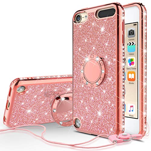 Galaxy Wireless Cases for New iPod Touch 7 Case, iPod 6/5 Case Glitter Bling Sparkle Ring Stand Case Compatible for Apple iPod Touch 5/6th/7th/New iPod Touch - Rose Gold