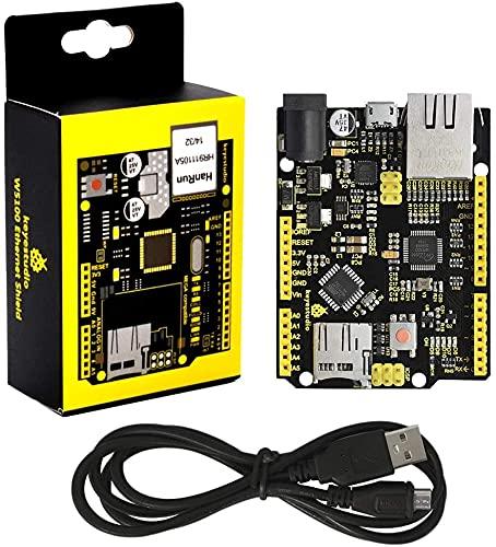 KEYESTUDIO W5500 Ethernet-Steuerplatinen-Entwicklungsplatine mit MicroSD-Karten Slot Passend für Arduino IDE, Nicht Ethernet Shield (KEIN Pin)
